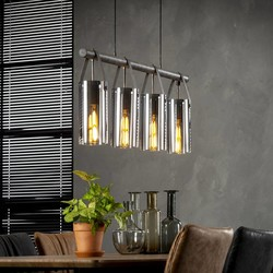 Hanglamp Smoaked 4-lichts Oud zilver