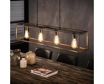 Industriële - Hanglamp - Oud zilver - 4 lichts - Cubic