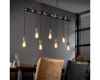 Industriële hanglamp Pipe 7-lichts oud zilver