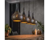 Industriële - Hanglamp - Zwart / bruin - 4 lichts - Chingo