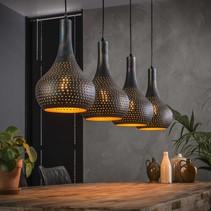 Hanglamp Chingo 4-lichts  metaal / zwartbruin gevlamd
