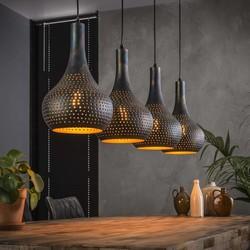 Hanglamp Chingo 4-lichts Zwart / bruin