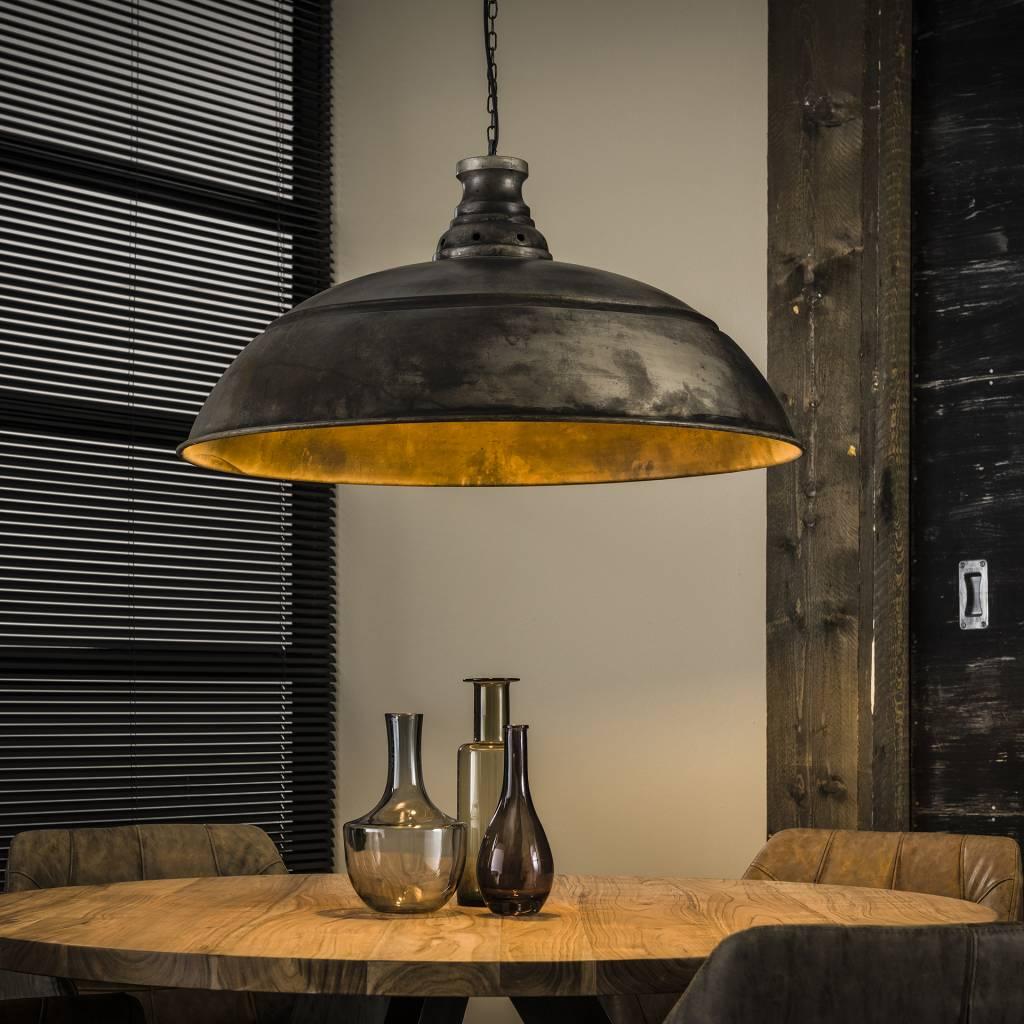 Industriele Lamp Boven Ronde Tafel.Industriele Hanglamp De Industriele Hanglamp Bromo O80 Cm Oud Zilver