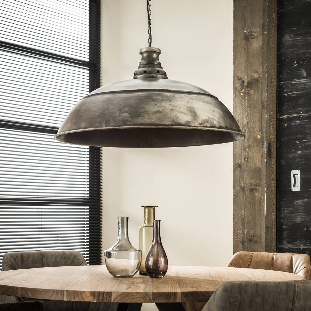 Industriele Lamp Boven Ronde Tafel.Belaluz Hanglamp Bromo O80 Cm Oud Zilver