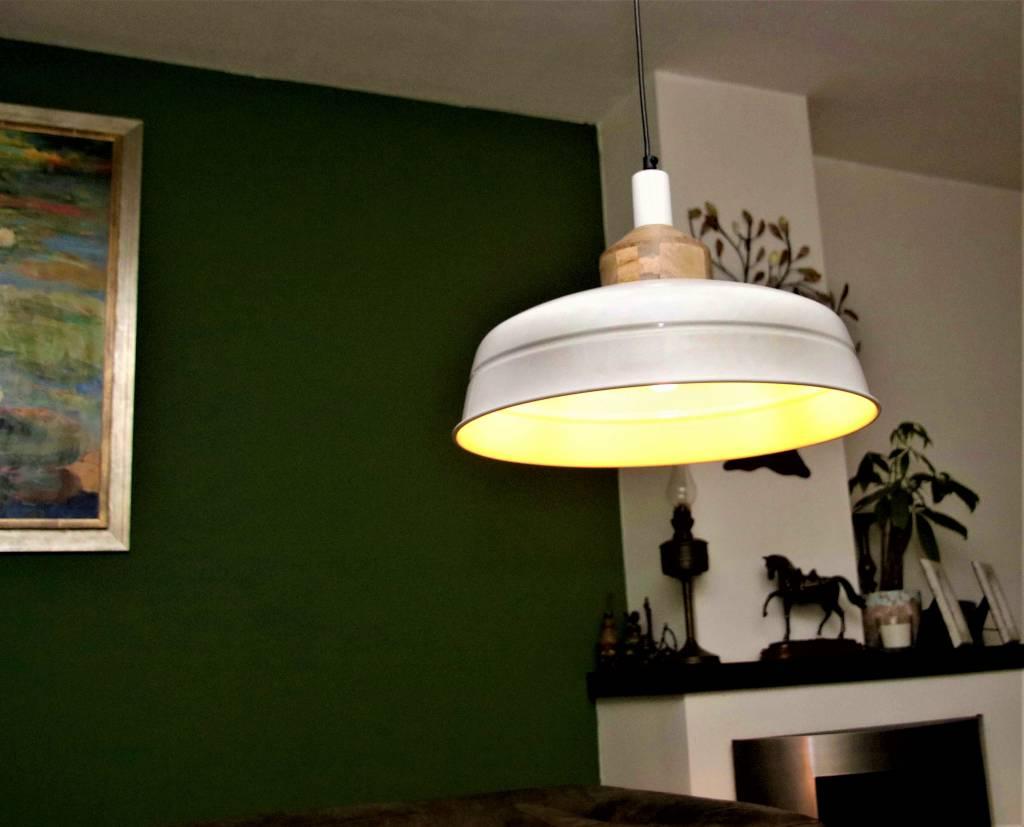 Lotus Lighting Lotus Lighting hanglamp ijzer / hout Helsinki wit