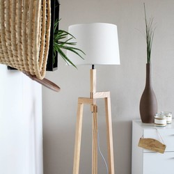 Vloerlamp Bess Hout Wit