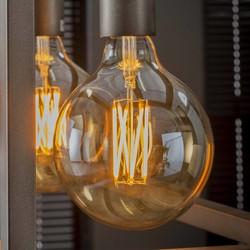 Lichtbron bol Ø12,5 cm LED filament goldline - E27 6W 2100K 450lm dimbaar / Amberkleurig glas