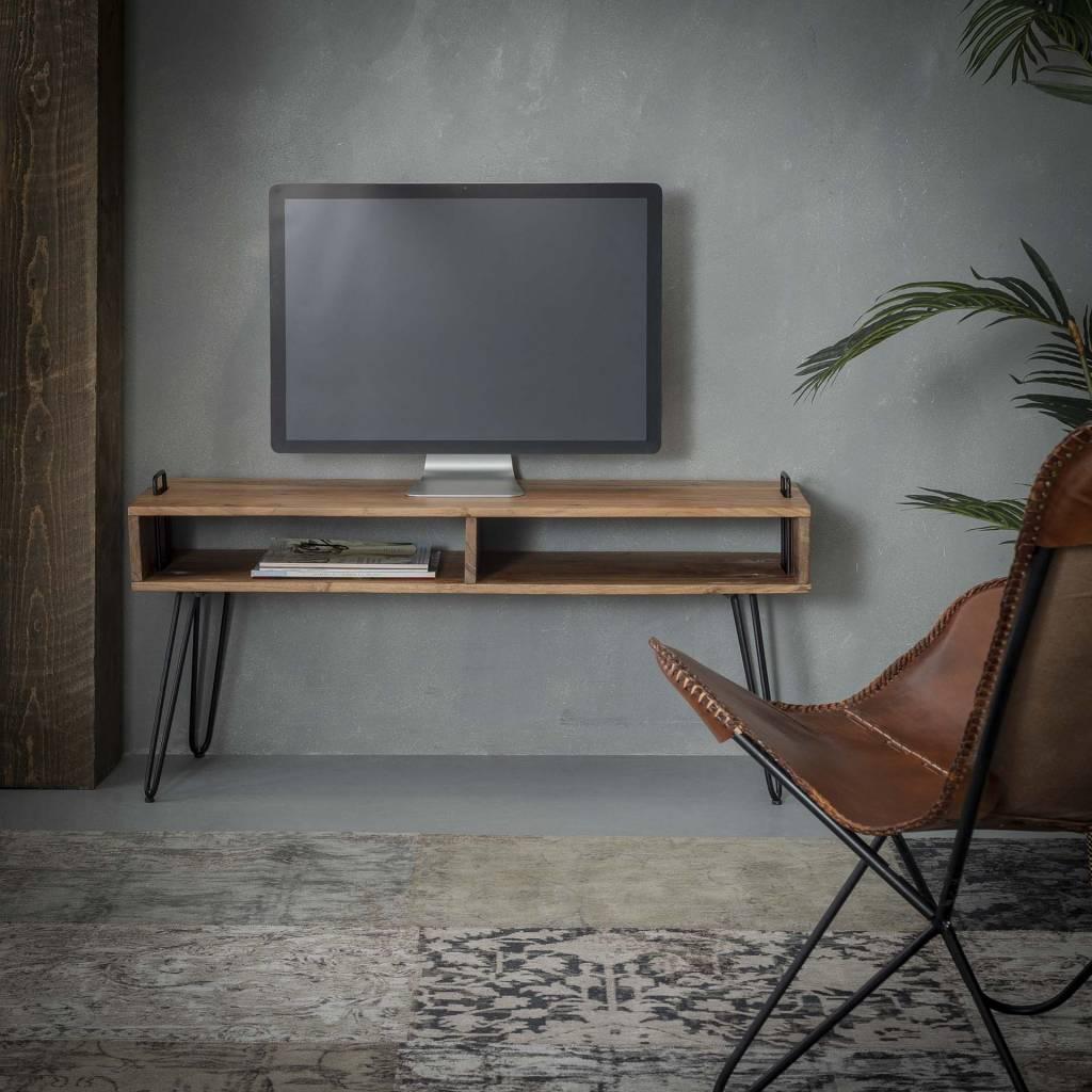 Tv Kast 110 Cm Breed.Landelijk Tv Meubel Houston 110cm Acaciahout Minimalistisch Onderstel