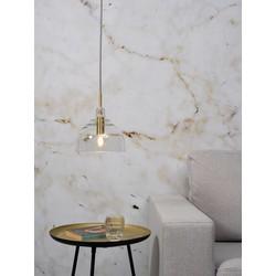 Hanglamp Brussel rond glas transparant/goud