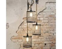 Landelijke hanglamp Detroit 3-lichts | Ø20 cm | Getrapt met touw
