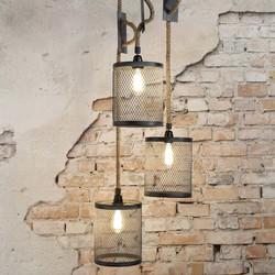 Hanglamp Detroit 3-lichts getrapt Verweerd grijs