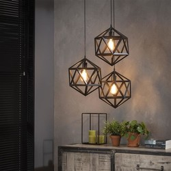 Hanglamp Pentagon 3-lichts Zwart