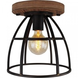 Pafondlamp Birdie Ø25 cm zwart/hout