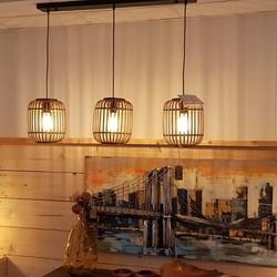 Hanglamp Malacca 3-lichts Bruin