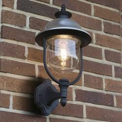 Staande buiten wandlamp Parma geborsteld RVS kap