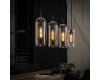 Modern industriële glazen hanglamp Toba 4-lichts