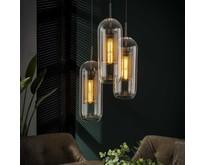 Glazen hanglamp Toba 3-lichts getrapt oud-zilver