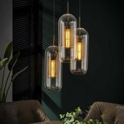 Hanglamp Toba 3-lichts getrapt oud zilver