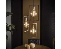 Industriële - Hanglamp - Oud zilver - 3 lichts getrapt - Bruce