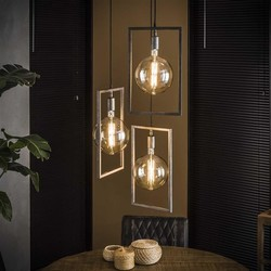 Hanglamp Bruce 3-lichts getrapt Oud zilver