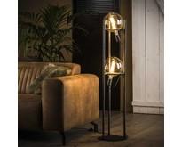 Industriële - Vloerlamp - Oud zilver - 2 lichts - Saturnus