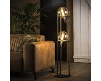 Modern industriële vloerlamp Saturnus 2-lichts   Oud zilver