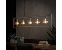 Minimalistische modern industriële hanglamp Skye 5-lichts oud zilver