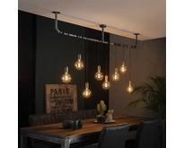 Industriële - Hanglamp - Oud zilver - 8 lichts - Pipe
