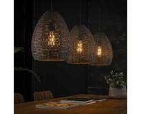 Industriële - Hanglamp - Zwart / bruin - 3 lichts ovaal - Zelda