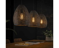 Modern industriële hanglamp Zelda 3-lichts ovaal | Zwart bruin