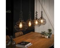 Industriële - Hanglamp - Zwart - 4 lichts - Hunter