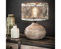 Tafellamp Cooper massief houten bolle voet verweerd koper