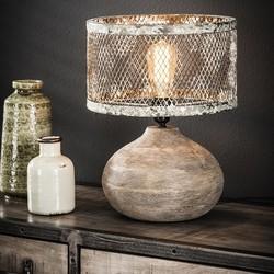 Tafellamp Cooper hout bol / verweerd koper