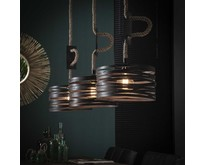 Landelijk industriële hanglamp Morgan 3-lichts met touw   Slate grey