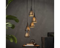 Industriële - Hanglamp - Zwart / bruin - 5 lichts getrapt - Cambal