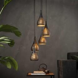 Hanglamp Cambal 5-lichts getrapt Zwart / bruin