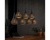 Industriële - Hanglamp - Zwart / bruin - 7 lichts - Cambal