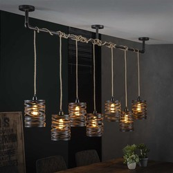 Hanglamp Lawu 7-lichts twist XL grijs/bruin