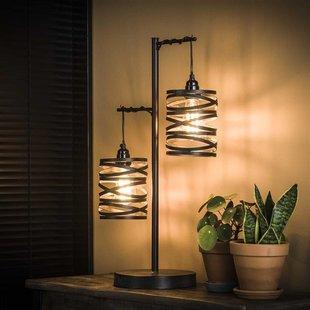 Tafellamp Lawu 2-lichts gedraaid grijs/bruin