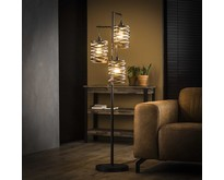 Modern industriële vloerlamp Lawu 3-lichts gedraaid grijs/bruin