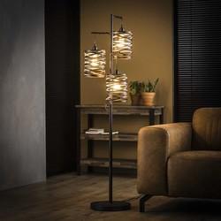 Vloerlamp Lawu 3-lichts gedraaid grijs/bruin