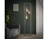 Modern industriële vloerlamp Cubic 3-lichts pilaar | oud zilver