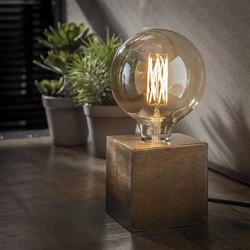 Tafellamp Kubus brons antiek