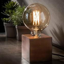 Tafellamp Kubus antiek koper finish