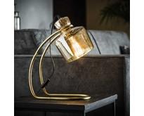 Tafellamp Yuka amber glas / Brons antiek
