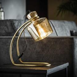 Tafellamp Yuka Amber glas Brons antiek