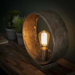 Tafellamp Zeno Rond Antiek nikkel