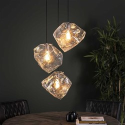 Hanglamp Ice Cube 3-lichts getrapt transparant glas
