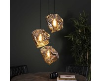 Moderne hanglamp Ice Cube  3-lichts getrapt chrome glas