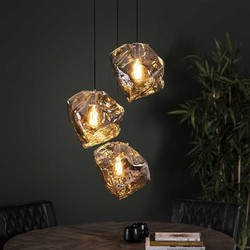 Hanglamp Ice Cube  3-lichts getrapt chrome glas